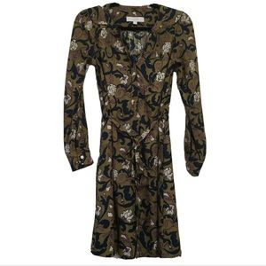 LOFT floral tie waist shirt dress olive AG18